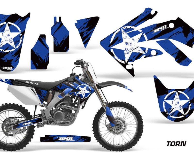 AMR Racing Dirt Bike Graphics Kit Decal Sticker Wrap For Honda CRF250R 2004-2009áTORN BLUE