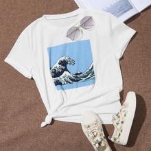 T-Shirt mit Welle Muster und kurzen Ärmeln