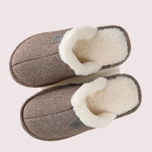 Men Round Toe Fur Lined Slippers