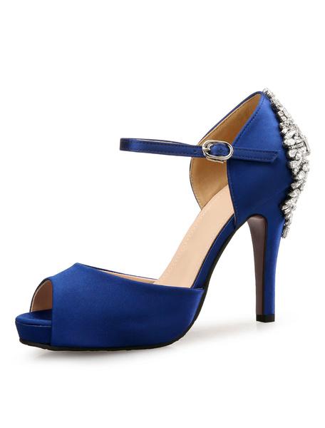 Milanoo Zapatos de novia de saten 10.5cm Zapatos de Fiesta Zapatos azul  de tacon de stiletto Zapatos de boda de punter Peep Toe con pedreria Baja(<1.