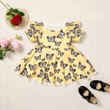 Baby Girl Allover Butterfly Print Ruffle A-line Dress