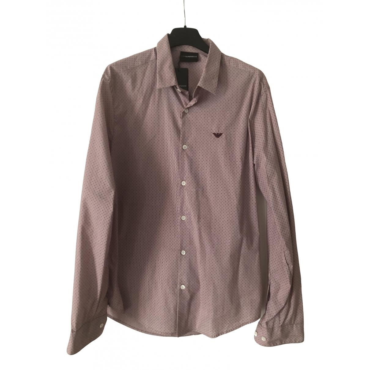 Emporio Armani - Chemises   pour homme en coton - rouge