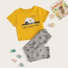 Toddler Girls Cartoon Panda Print PJ Set