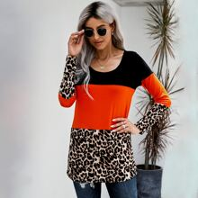 Colorblock Cheetah Panel Contrast Lace Tee