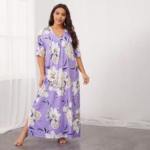 Plus Floral Print Drop Shoulder Split Side Nightdress
