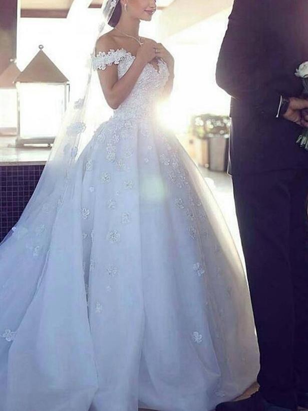 Ericdress Off-The-Shoulder Applique Ball Gown Wedding Dress