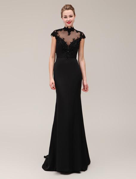 Milanoo Vestido negro de noche con manga corta y escote alto Vestidos de boda para huespedes