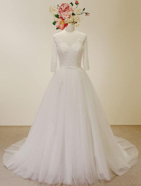 Milanoo High Qulity A Line Wedding Dress Laced Applique Chaple Train Bridal Gown