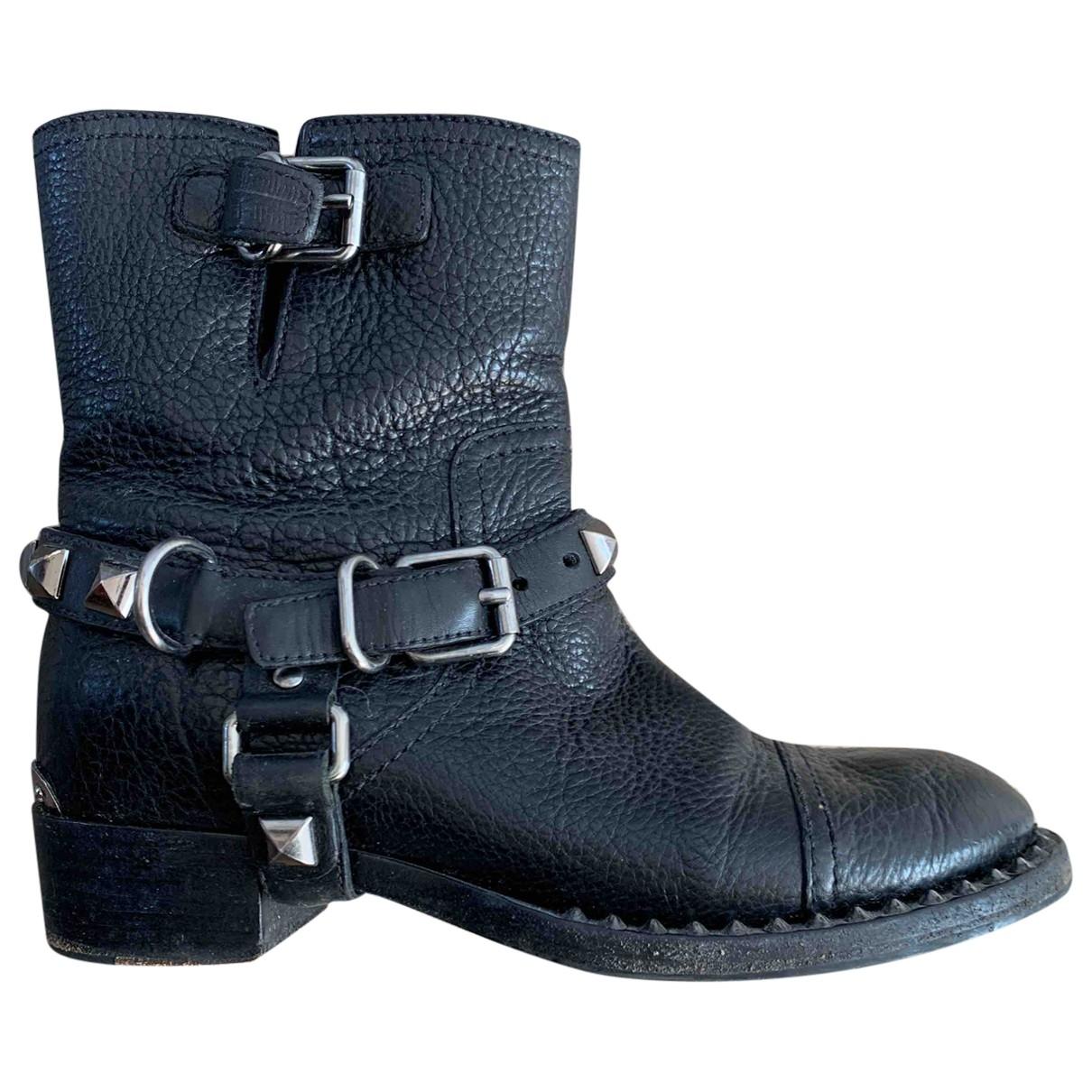Miu Miu \N Black Leather Ankle boots for Women 37.5 EU