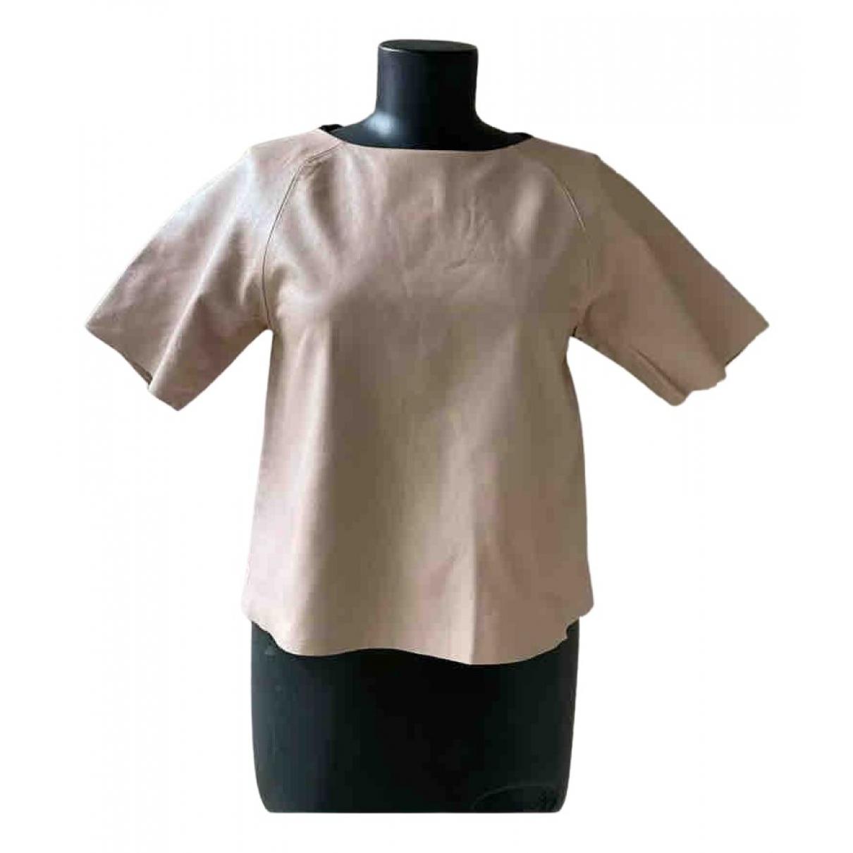 Tibi - Pull   pour femme en cuir - beige