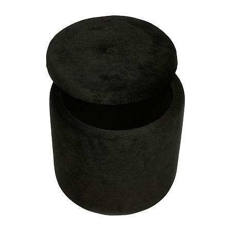 Baum Storage Ottoman, One Size , Black