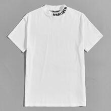 Camiseta de cuello alzado con estampado de letra