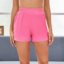 Elastic Waist Solid Sports Shorts