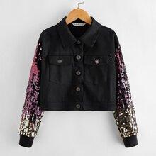 Jacke mit Kontrast, Pailletten an Ärmeln und Knopfen vorn
