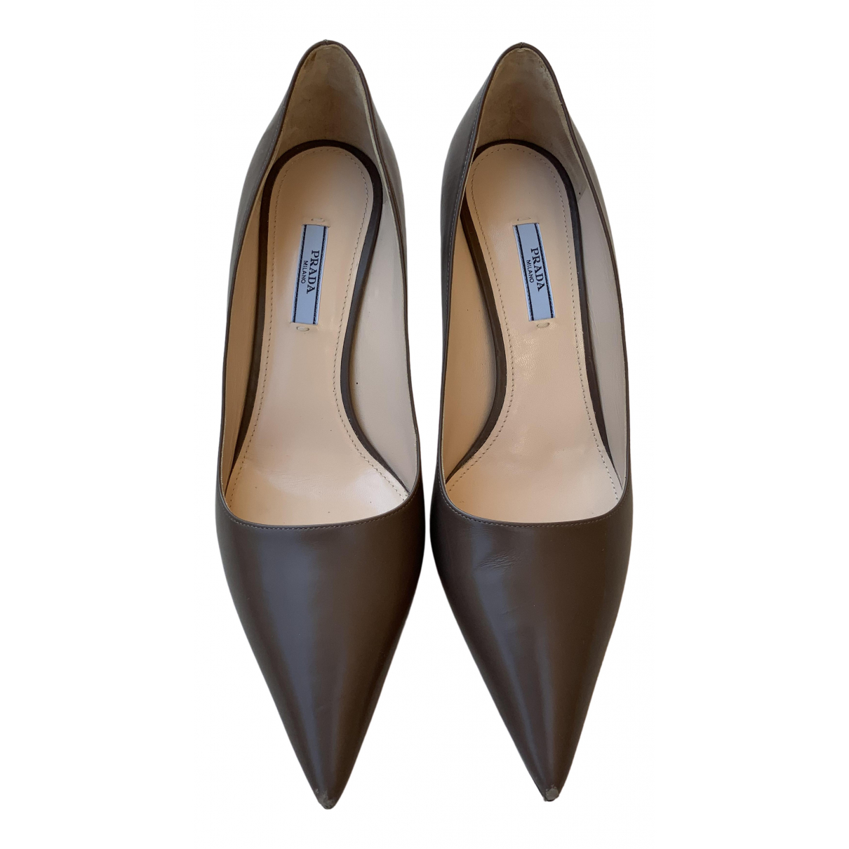 Prada \N Grey Leather Heels for Women 41 EU
