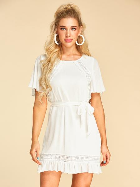 YOINS White Crochet Lace Embellished Round Neck Short Sleeves Dress