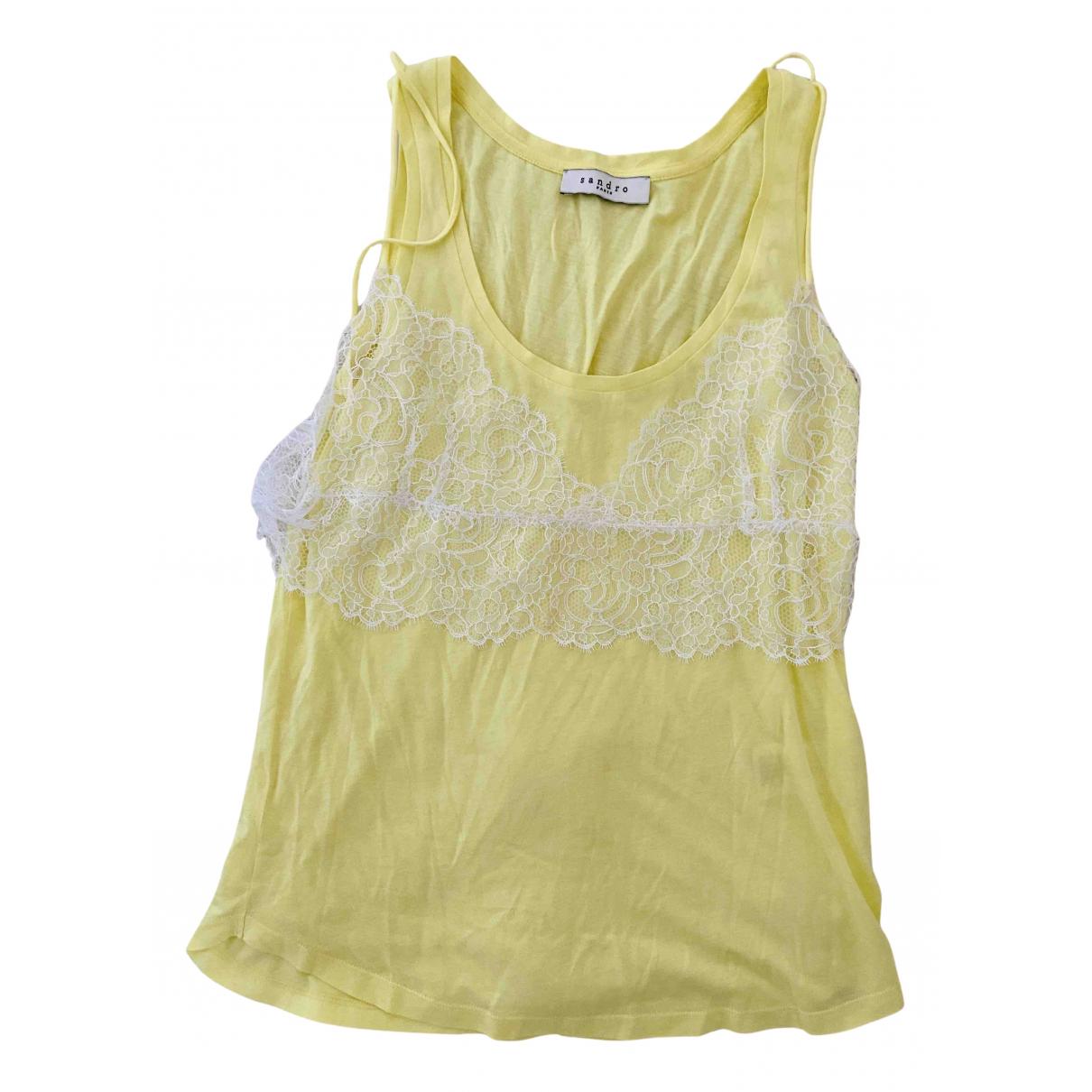 Sandro - Top   pour femme en coton - jaune