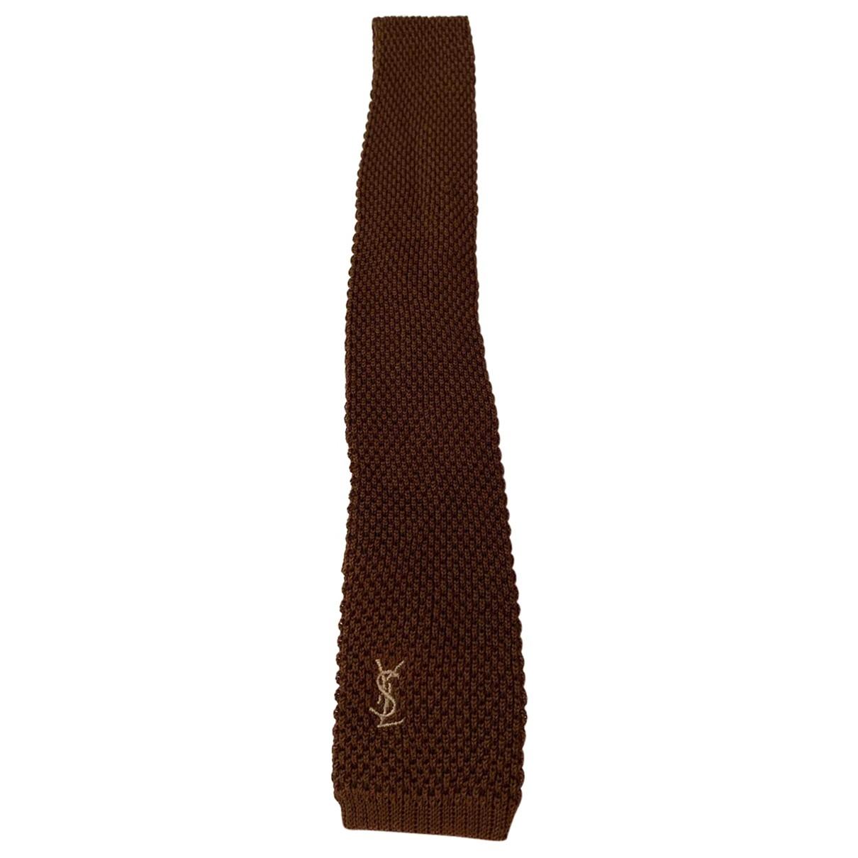 Yves Saint Laurent - Cravates   pour homme en coton - marron