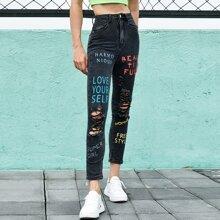 Jeans mit Buchstaben Grafik und Riss