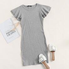 Layered Flutter Sleeve Rib-knit Dress