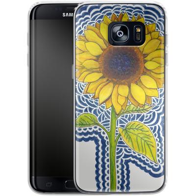 Samsung Galaxy S7 Edge Silikon Handyhuelle - Sunflower Drawing von Kaitlyn Parker