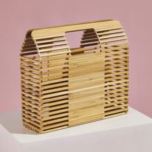 Hollow Out Structured Bamboo Handbag