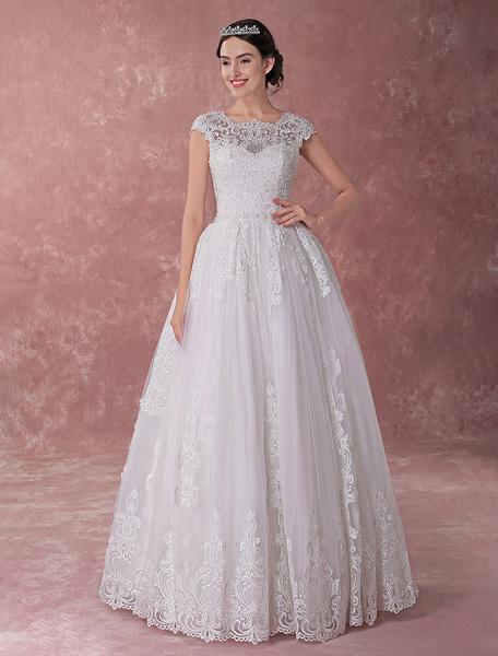 Milanoo Vestidos de novia de la princesa de encaje de manga corta rebordear piso de lujo vestido de novia de longitud