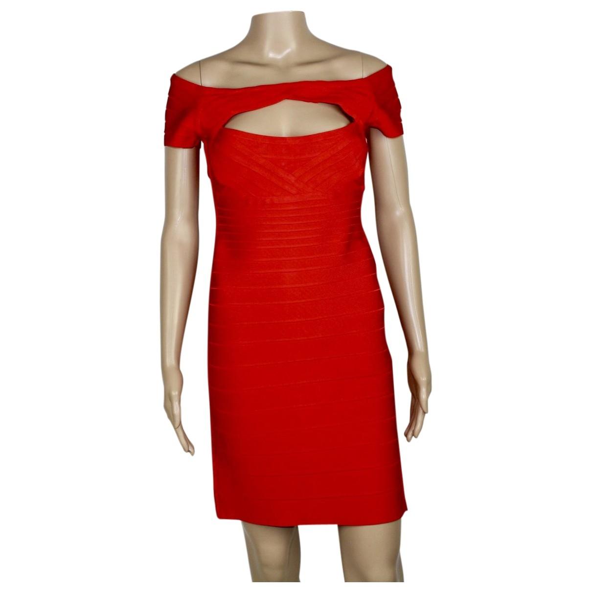 Herve Leger \N Kleid in  Rot Viskose