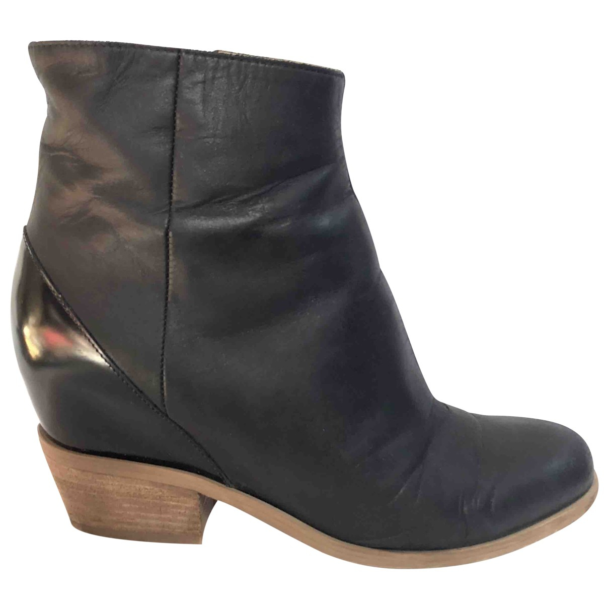 Mm6 N Black Leather Boots for Women 36.5 EU
