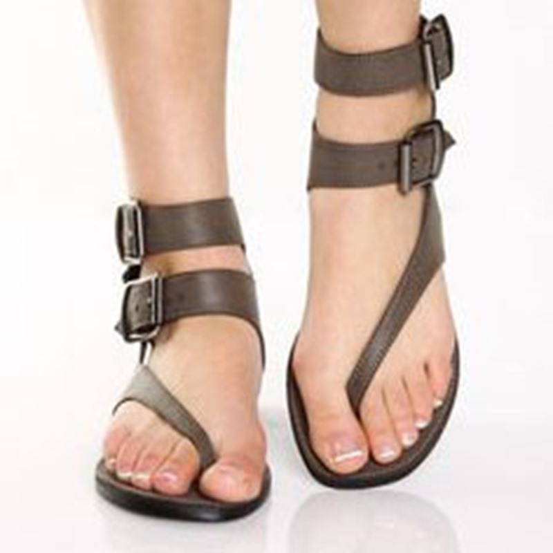 Ericdress Black Buckle Thong Flat Sandals