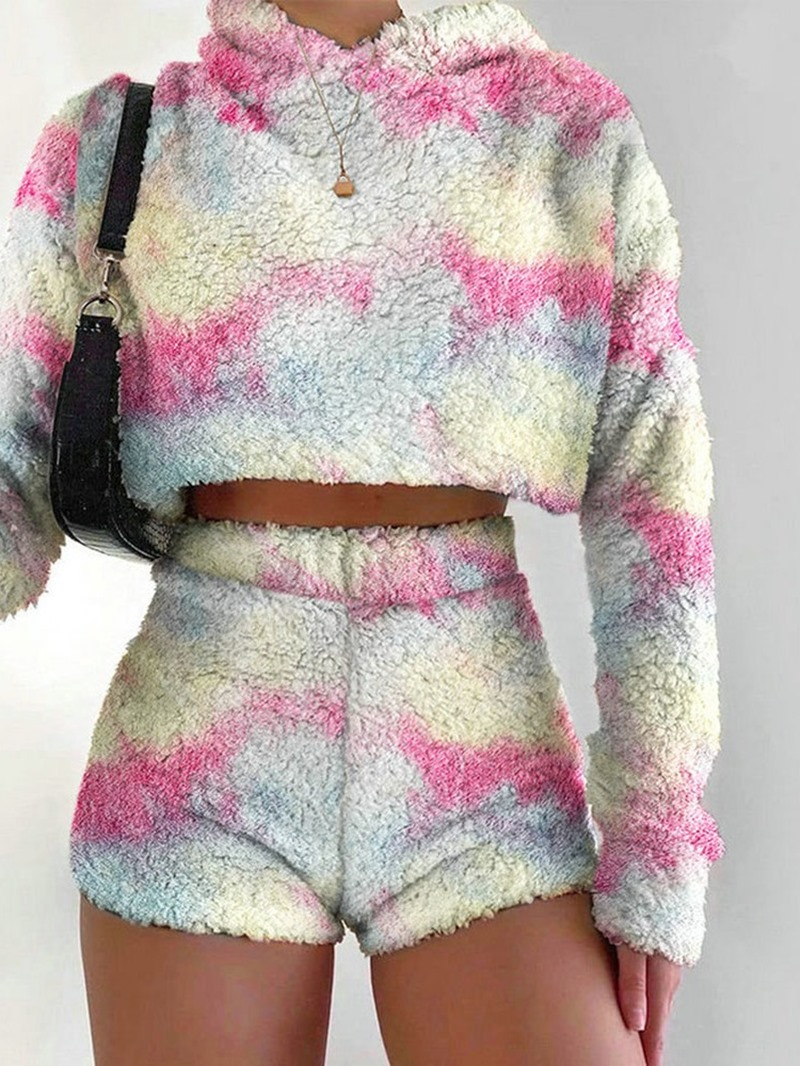 Ericdress Hoodie Color Block Sweet Pullover Straight Two Piece Sets