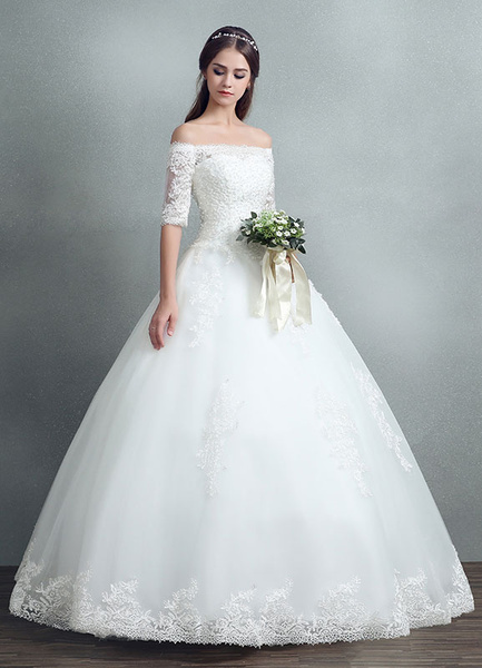 Milanoo Princess Wedding Dress Lace Beading Maxi Bridal Gown Off The Shoulder White Floor Length Ball Gown Bridal Dress