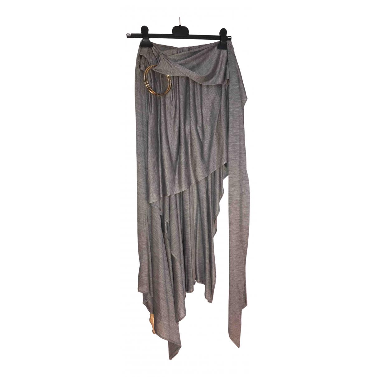 Anthony Vaccarello \N Grey Silk skirt for Women 38 FR