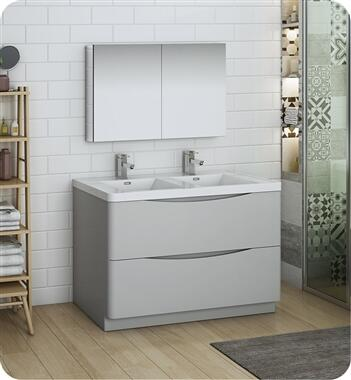 Tuscany Collection FVN9148GRG-D 47 Glossy Grey Free Standing Double Sink Modern Bathroom Vanity with Medicine