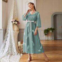 A-Linie Kleid mit Feder Muster und Guertel