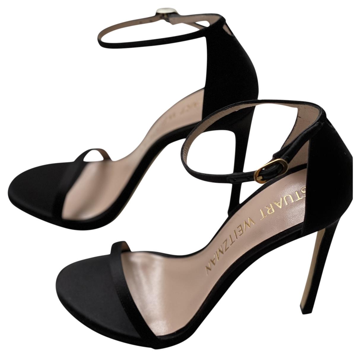 Stuart Weitzman N Black Cloth Sandals for Women 38 EU