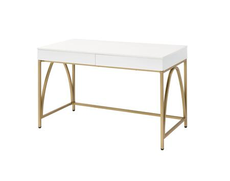 BM211100 Rectangular Wooden Frame Desk with 2 Drawers and Metal Legs  White and