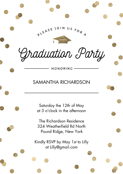 Graduation Invitations 5x7 Cards, Standard Cardstock 85lb, Card & Stationery -Graduation Party Dots Gold by Tumbalina