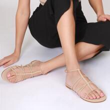 Vegan Nubuck Caged Buckled Sandals