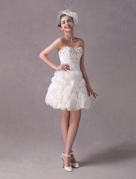 Milanoo Wedding Dresses Vintage Short Strapless Lace Applique Flowers Beaded Bridal Reception Dress