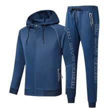 Men Letter Graphic Zip Up Sports Hoodie & Sports Pants