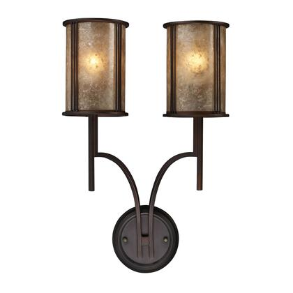 15030/2 Barringer 2-Light Sconce in Aged Bronze and Tan Mica