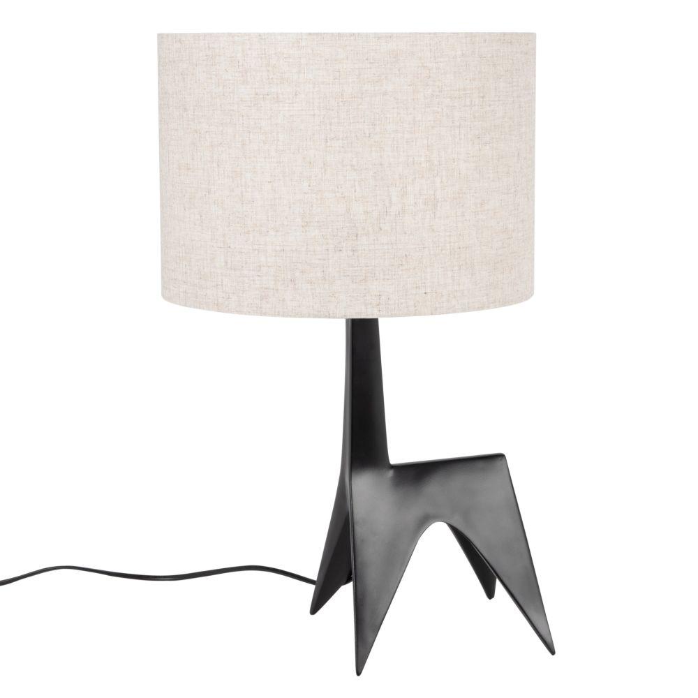 Lampe mit Fuss im Giraffen-Look, schwarz mit beige Lampenschirm