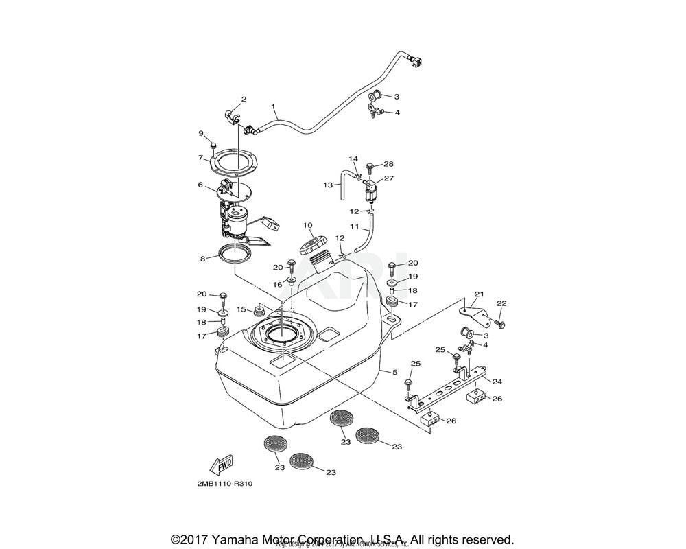 Yamaha OEM 2MB-F4291-00-00 BRACKET, FUEL TANK 1