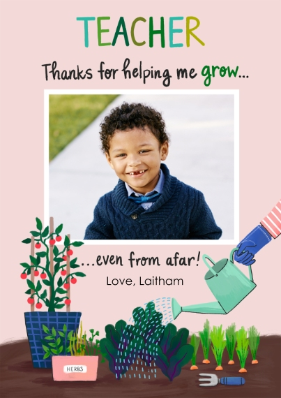 Thank You Cards Flat Matte Photo Paper Cards with Envelopes, 5x7, Card & Stationery -Helping Me Grow
