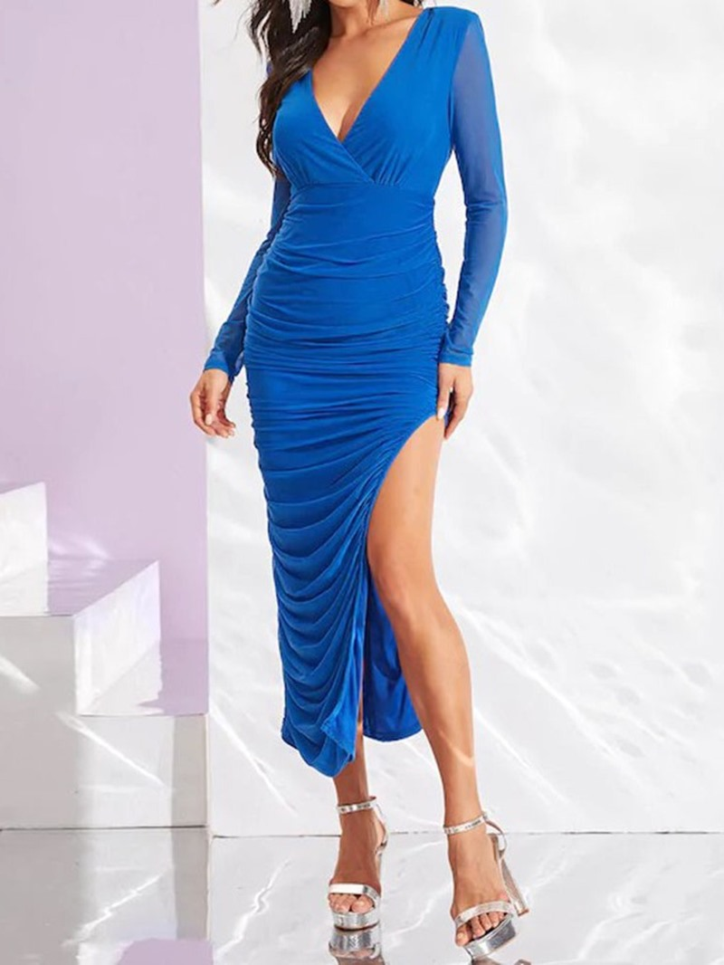 Ericdress Pleated V-Neck Long Sleeve Party/Cocktail Bodycon Dress
