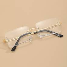 Gafas de hombres sin montura de lentes rectangulares