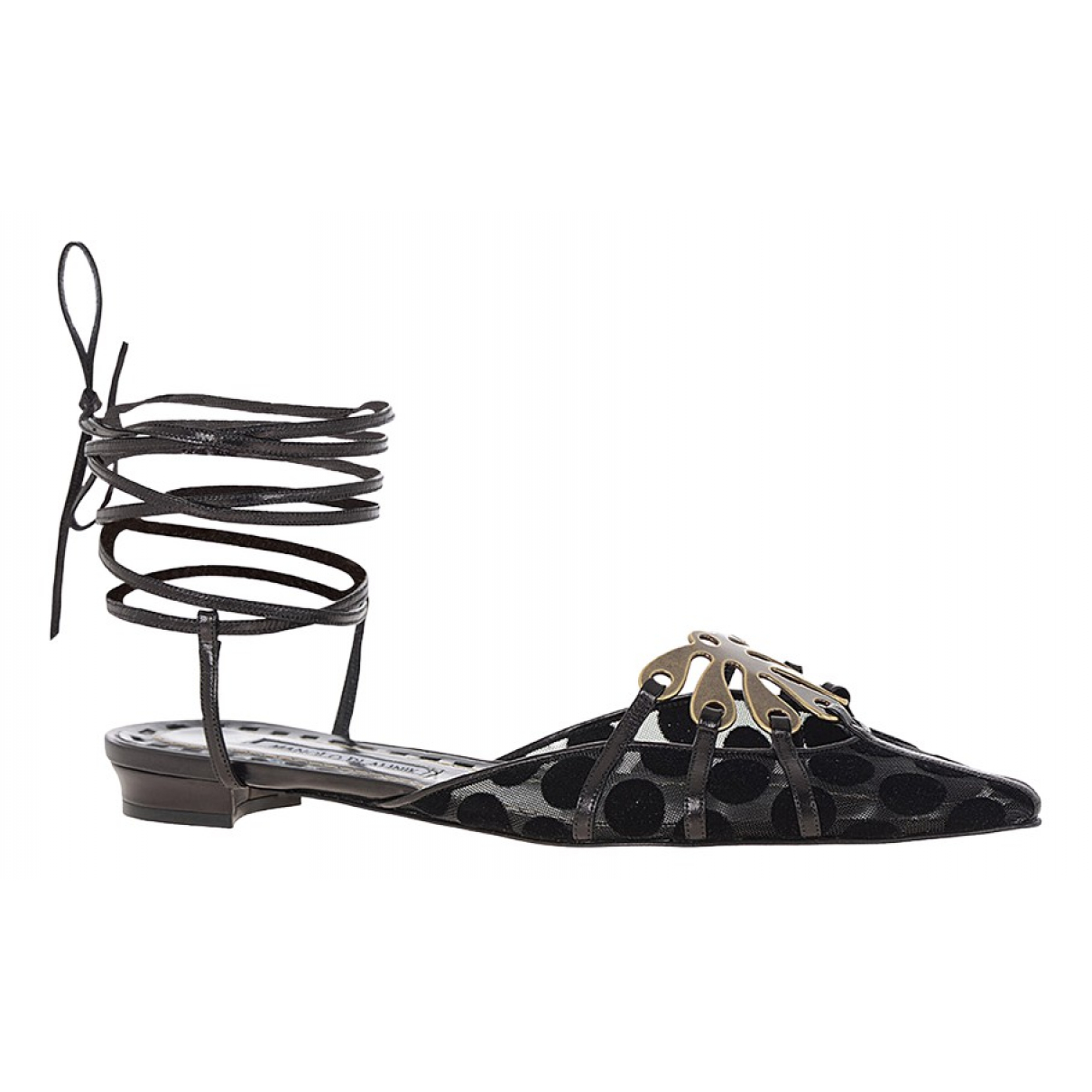 Manolo Blahnik N Black Cloth Sandals for Women 37 EU