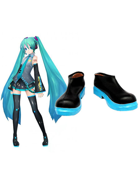 Milanoo Stylish Vocaloid Hatsune Miku Imitated Leather Cosplay Shoes Halloween