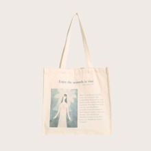 Letter Graphic Canvas Shopper Bag